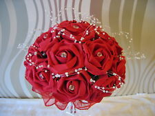 WEDDING FLOWERS/ BRIDES BRIGHT RED FOAM ROSE IVORY PEARL/DIAMANTE HANDLE BOUQUET