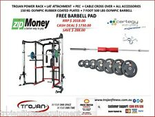Power Rack Cage Lat Attachment Cable Cross Pec Dec Dips 150 KG Plates Bar Pad