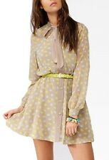 NWT Forever21 Ditsy Hello Kitty Long Sleeve Beige Shirt dress with Belt S