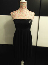 BNWOT NEW WITHOUT TAGS BLACK SEQUIN BANDEAU STRAPLESS PUFFBALL DRESS SIZE 10
