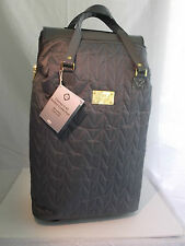 JOY MANGANO 3 PIECE QUILTED LUGGAGE SET DUFFLE/WHEELED CARRY ALL BAG  BLACK NWT