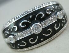 FANCY DIAMOND BLACK ENAMEL 14K WHITE GOLD FILIGREE SWIRL BAND RING 11M R17425WP1