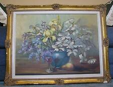 VINTAGE GARDEN FLOWERS BOTANICAL IRISES DOGWOOD WISTERIA WINE PEAR OIL PAINTING
