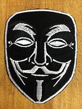 "Black"" Vendetta Halloween Anonymous Fawkes Guy Mask Embroidered Iron on Patch"