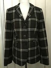 ZARA Women Wool Brown Check Elbow Patches Blazer Jacket UK12 EUR40