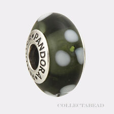 Authentic Pandora Sterling Silver Murano Black Flowers 790604 *RETIRED*