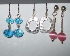 BLUE PINK SILVER earring lot glass BEADS hammered hoops drop hook pierced EUC