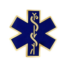 Blue Star of Life Lapel Pin Gold Trim Caduceus Medical Emblem Collar Tack New