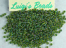 11/0 Round TOHO Glass Seed Beads #1829- Rainbow Jonquil/Forest Green Lined 15g
