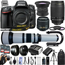 Nikon D610 24.3mp DSLR Camera w/ 6 Lens 15-2600mm 28 PC 128GB SD Ultra Zoom Kit