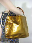 Vintage GUCCI Glossy Leather Yellow Hobo Shoulder Bag BAMBOO handle Italy
