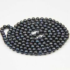 """New7-8mm Black real akoya Cultured Pearl Necklace 50"""""""