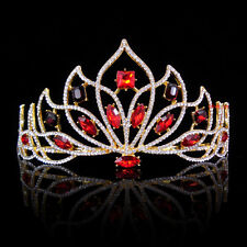 8cm High Adult Big Red Golden Full Crystal Tiara Crown Wedding Pageant Prom