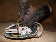 SAGE WHITE SMUDGE SMUDGING KIT PEACOCK FEATHER SAGE & ABALONE SHELL SHAMAN