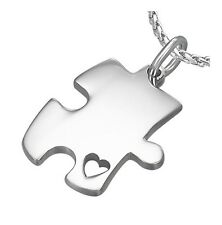 Puzzle Piece Heart Autism Awareness 316 Stainless Steel Pendant Necklace