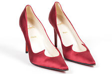 "VINTAGE 90's Christian Louboutin Maroon Satin ""Cleavage"" Pointed Toe Pumps SZ 40"