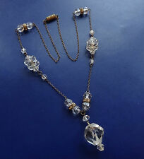 vintage art deco clear rhinestone & glass bead necklace brass barrel clasp -C779