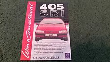 1988 PEUGEOT 405 WIN A SENSATIONAL 405 SRI COMPETITION UK SMALL LEAFLET BROCHURE