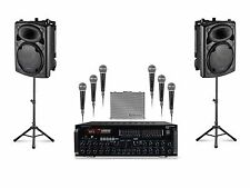 "12"" Bluetooth Stage Pack 6 MICS 2 SPEAKERS MIXER FREE MUSIC KARAOKE PLAYER"