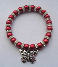 Red Glass Pearl & Diamante Elastic Bracelet / Tibetan Silver Butterfly Charm NEW