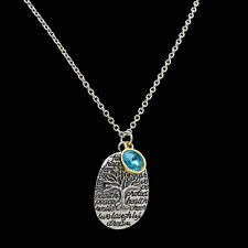 Fashion birthstones Pendant Necklace Chain Family Tree Engraved Special Words &9