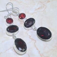 ARTISAN FACETED NATURAL RED GARNET 925 SILVER  EARRINGS