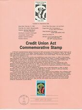 1984 U. S. USPS one Souvenir Page Scott 2075 Credit Union Act 20 cent stamp