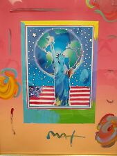 Peace On Earth by Peter Max - abstract - Statue of Liberty, Earth/Globe, & Flag