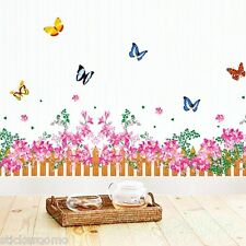 PINK FLOWERS BUTTERFLIES ROOM WALL ART STICKERS VINYL DECALS HOME DECORATION