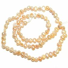 """NP559f Pink Peach 4-5mm Flat-Sided Potato Cultured Freshwater Pearl Beads 15"""""""