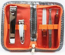 BIOSWISS 5PC MANICURE SET PADDED CASE CHOICE OF COLOR CLIPPERS FILE TWEEZERS NEW