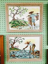 "Paint by Numbers Asian Fisherman Set of 2 MCM 18"" x 14"""
