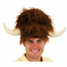 ADULT BROWN FURRY LODGE HAT WATER BUFFALO COSTUME HAT WITH HORNS FAUX FUR