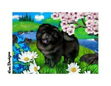 BLACK CHOW CHOW  DOG CHERRY BLOSSOM TREE DAISY PET ART GIFT PRINT CARD ACEO