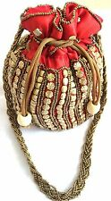 Indian traditional Wristlet beads Purse wedding evening Bollywood party potli