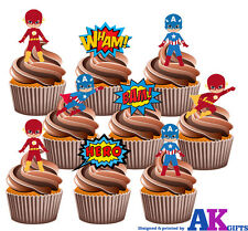 PARTY PACK - 36 X Captain America & Flash Gordon Mix EDIBLE CUP CAKE TOPPERS