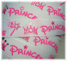 7/8 PRINCESS SPARKLE CROWNS & WANDS TIARA GROSGRAIN RIBBON 4 HAIRBOW BOW WHITE