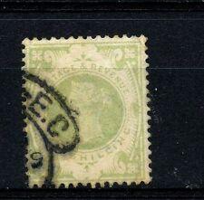 Great Britain #122 (GB757) Queen Victoria Hi Value 1 shilling green,U,FVF,CV$72.