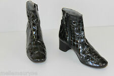 Bottines Boots ALEXANDRIA Tout Cuir Verni Vert Chasse T 35.5 BE