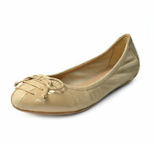 Cole Haan Air Jenni Bow Ballet II Flat Shoes Suede Patent Leather SANDSTONE 8.0