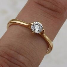 Size 7 Simple Cute White CZ Gem Jewelry Yellow Gold Filled Claw Ring R2538-15