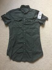 "Dolce & Gabbana Short Sleeve Slim Fit Shirt, Dark Brown/green 39 15.5"" BNWT D&G"