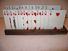 Set of 4 Walnut Wood Hand Crafted  2 Row Playing Card Holders