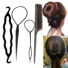 4pc Set Hair Styling Clip Bun Maker+Topsy Tail Braid Ponytail Maker Styling Tool