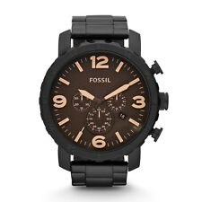 Fossil Nate Mens JR1356 Chronograph Brown Dial Black Stainless Steel Watch