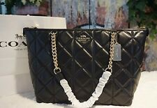 NWT COACH F36661 AVA Quilted Leather Large Chain Tote Shoulder Bag BLACK, $495