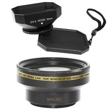 30mm Wide Angle Lens + Macro + Black Hood for Sony Handycam DVD650,DCR-SR80,USA