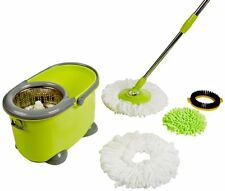 Magic Mop 360 Rotate Spin mop Bucket w/ Microfiber Heads Chenille & Head Brush