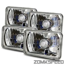 Full Set 4x6 H4651/4652/4656/4666 Semi-Seal Diamond Glass Headlights Replacement