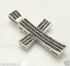 "2.5"" Bold Black and Clear CZ Bling Cross Pendant Real Solid 925 Sterling Silver"